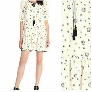 Kensie Owl Dot print drop waist ivory dress